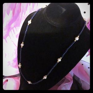 Simple Faux Pearl & Navy Blue Beaded Necklace